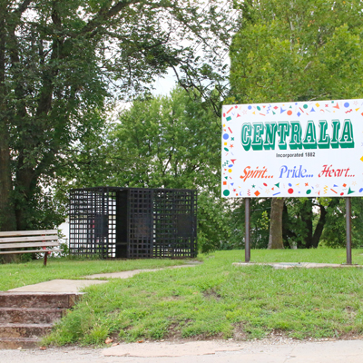 Centralia Welcome Sign and Old Jail